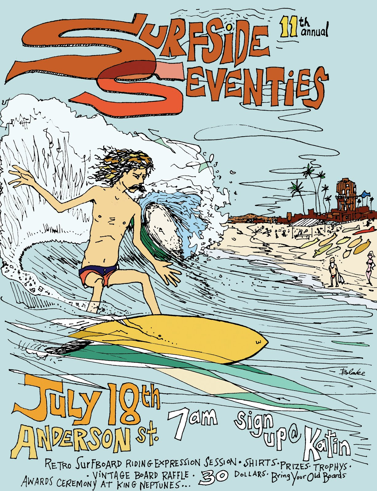 2009 11th annual Surfside Seventies poster