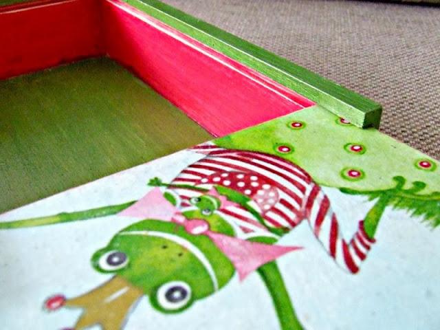 serwetka z żabą decoupage pudełka na kredki Eco Manufaktura