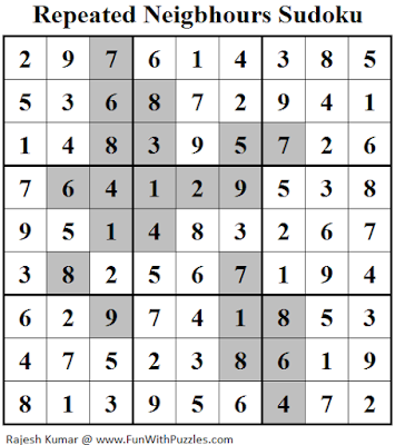 Repeated Neigbhours Sudoku (Daily Sudoku League #130) Solution