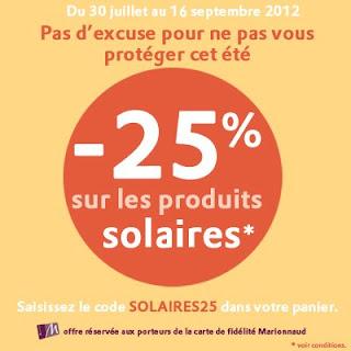 Promos Marionnaud sur les produits solaires