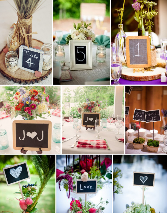 Wedding centerpieces chalkboard