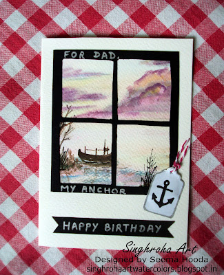 background, nautical, boat,challenge, cardmaking, custommade, dad,father,happybirthdaycard,anchor,windowcard,frame,window,tag
