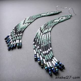 extra long seed bead earrings beadwork ethnic