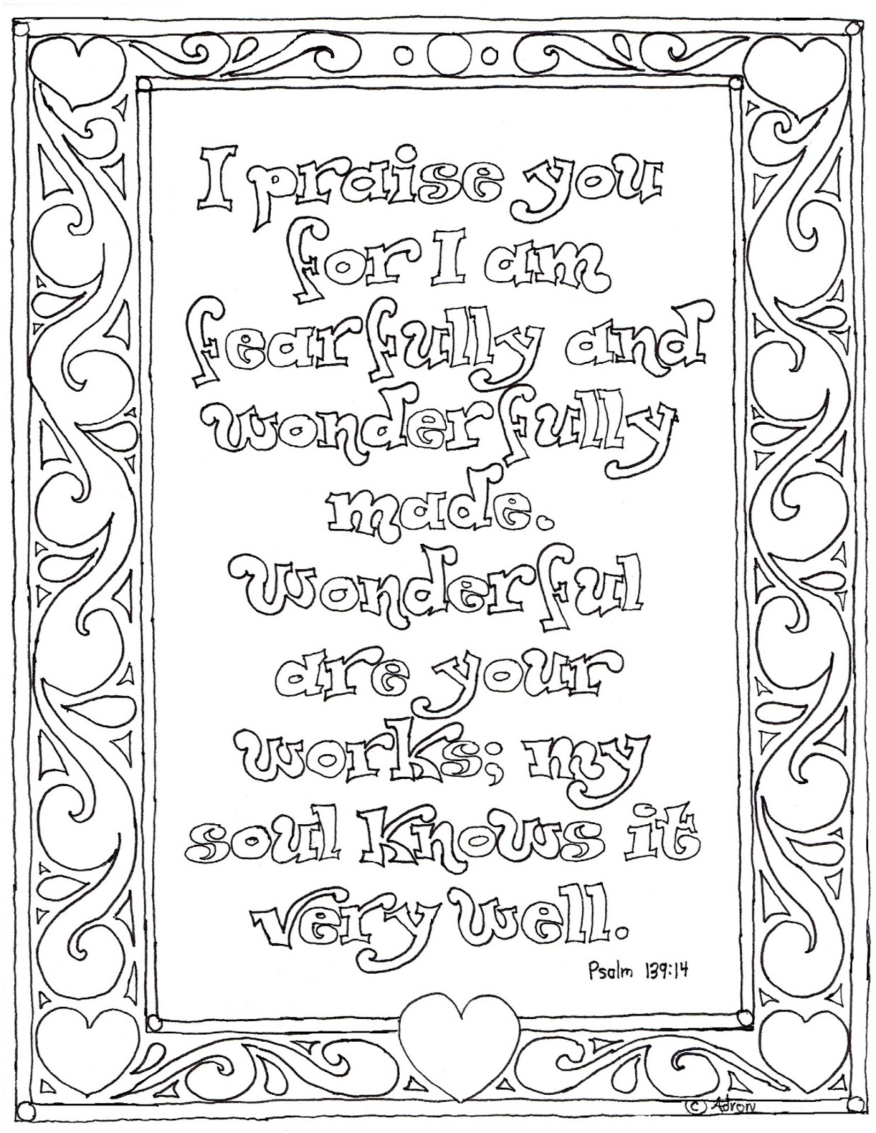 Coloring Pages For Kids By Mr Adron Printable Psalm 139 14 Coloring Page