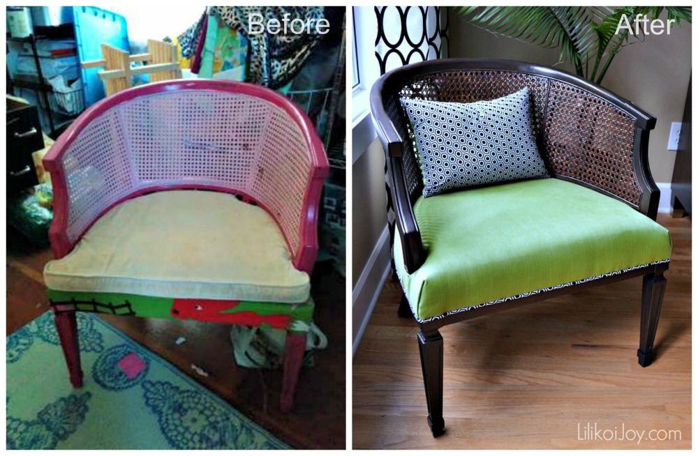 Barrel Cane Chair Makeover