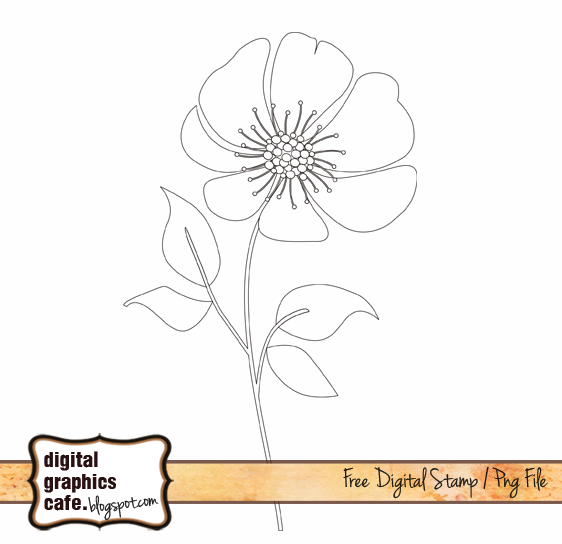 flower digital stamp