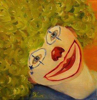 """Cee-Cee"",  6"" x 6"" x 1.5"" small clown portrait"
