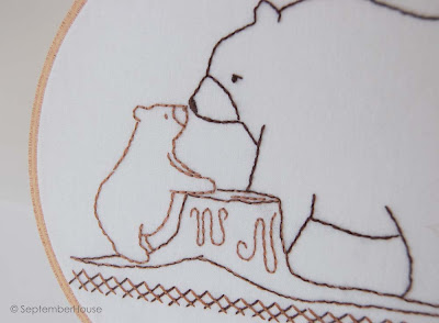 Bear and Bear Cub Woodland Embroidery Pattern