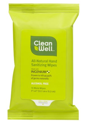 CleanWell, CleanWell All Natural Hand Sanitizing Wipes, hand wipes