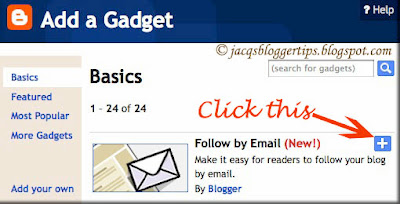 Screenshot of Blogger's Add A Gadget - Follow by Email