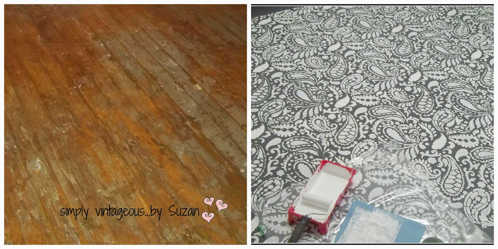 Painted & stencilled floor - paisley design