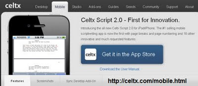 Celtx Mobile Scriptwriting Ap