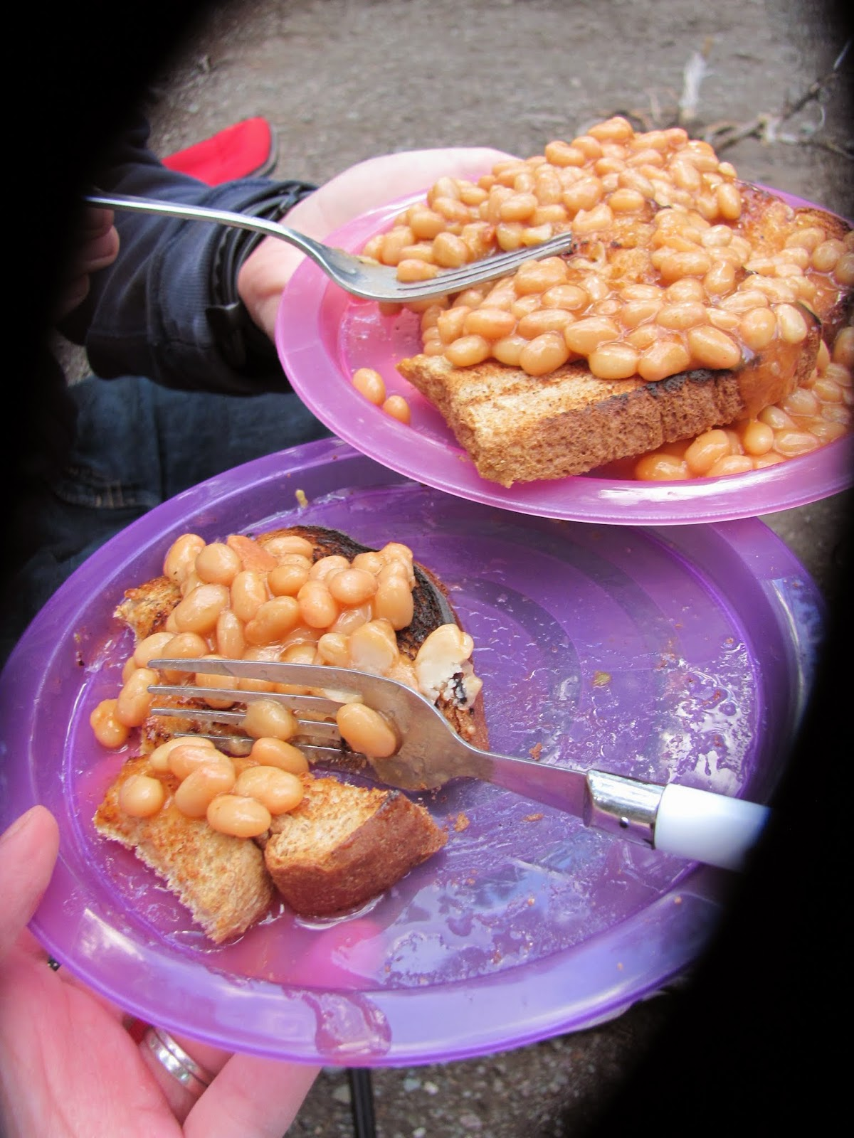 Eating beans and toast for our first meal at Glacier National Park in Montana