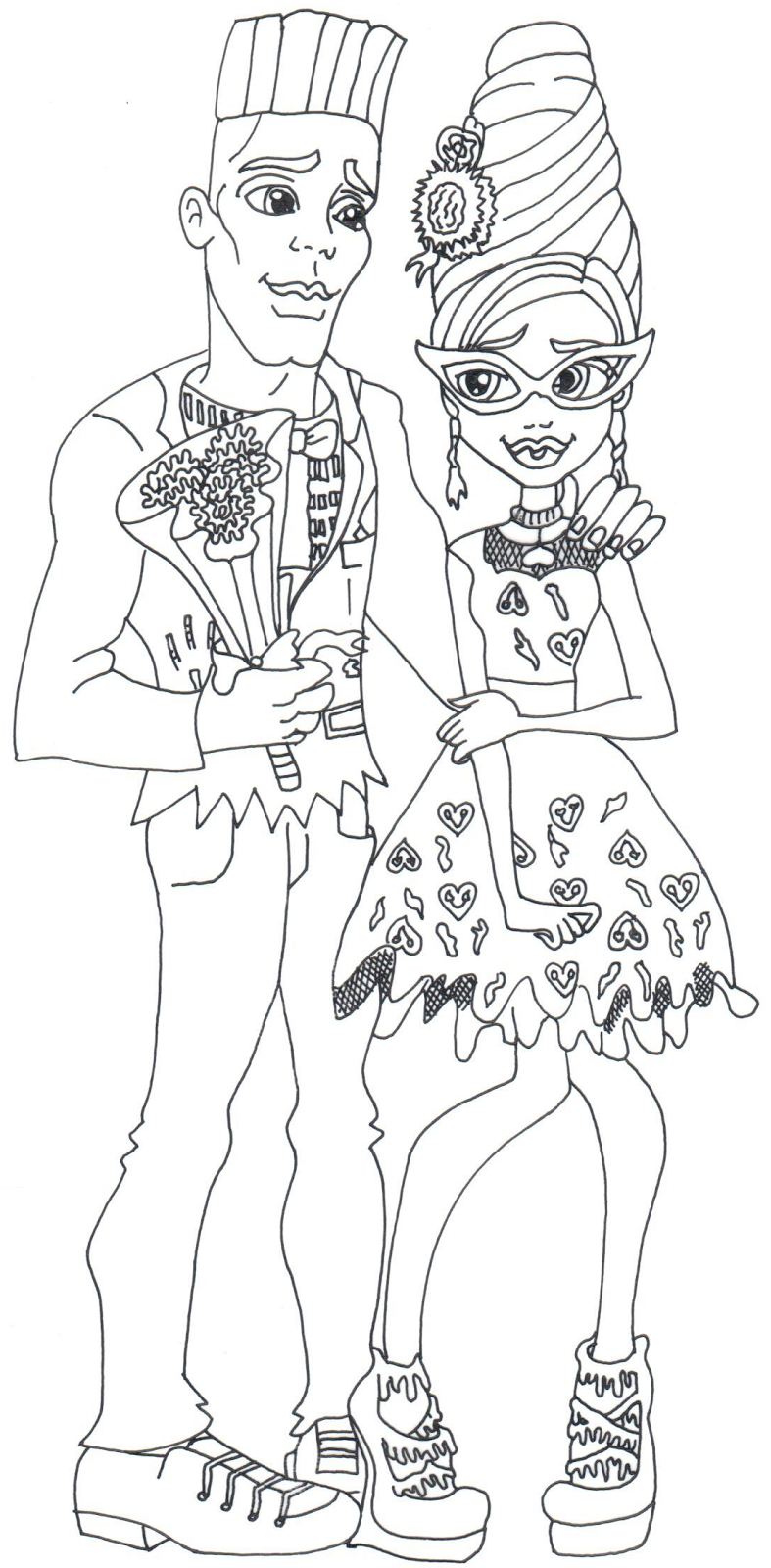 free printable monster high coloring page for ghoulia yelps and slo mo loves not dead - Free Monster High Coloring Pages