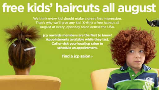 story jcpenny offers free haircuts kids