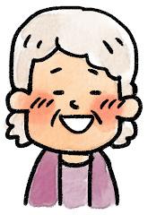 おばあさんの表情のイラスト(照れ)