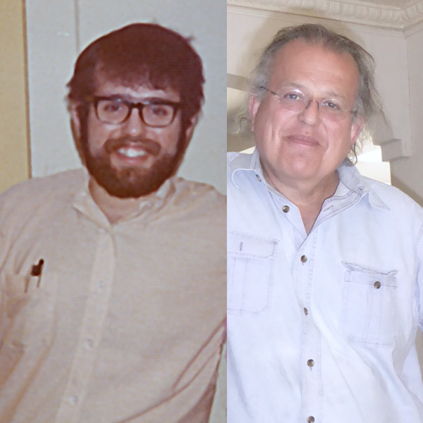 left: David Ocker in 1972, composer of Sonata; right: David Ocker in 2015, composer of Life Time