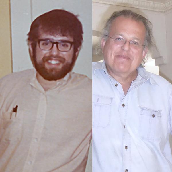 left: David Ocker in 1972, composer of Sonata; right: David Ocker in 2015, composer of Life Time