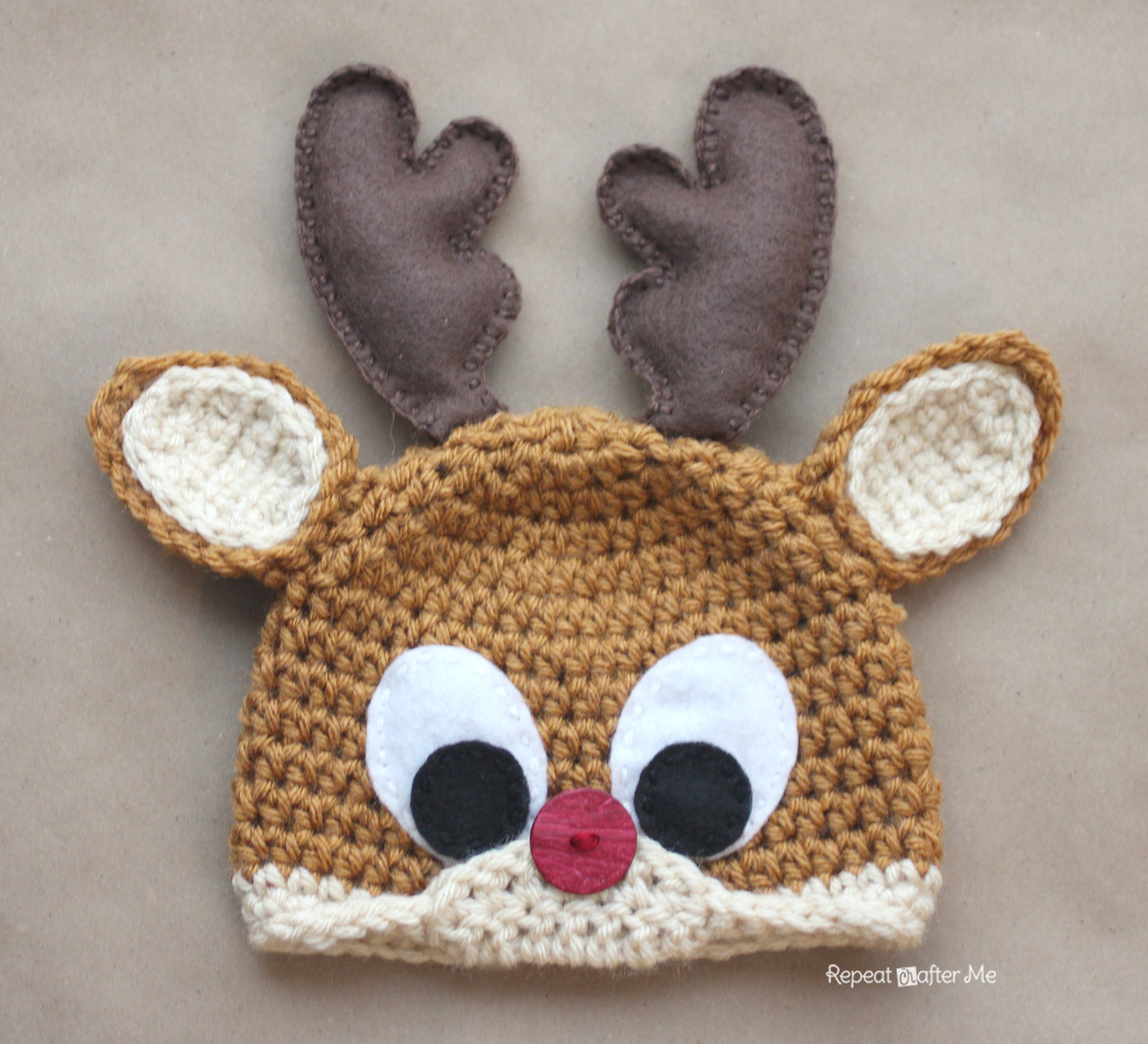 Free Reindeer Hat Crochet Pattern For Dogs : Crochet Rudolph the Reindeer Hat Pattern - Repeat Crafter Me