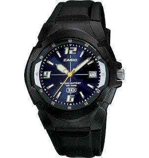 Casio Men's 10 Year Battery Watch, 100 Meter W/R, Blue Dial, MW600F-2AV