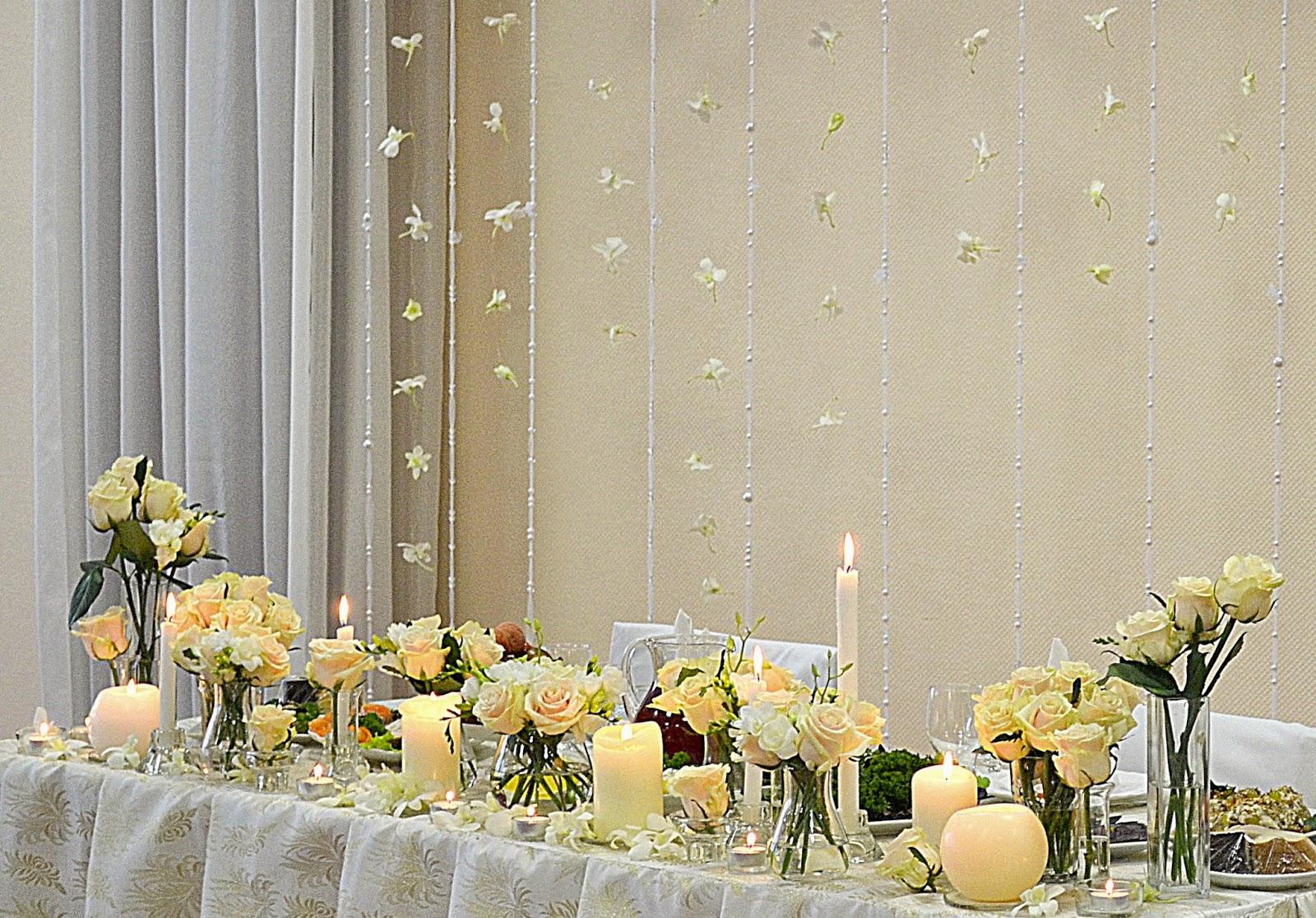 декор свадебного стола цветами