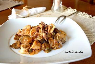 Pasta risottata melanzane e calamari ricetta primi piatti