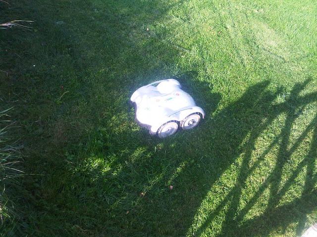 Wiper Rasen-Roboter fährt auf ein Hinderniss zu