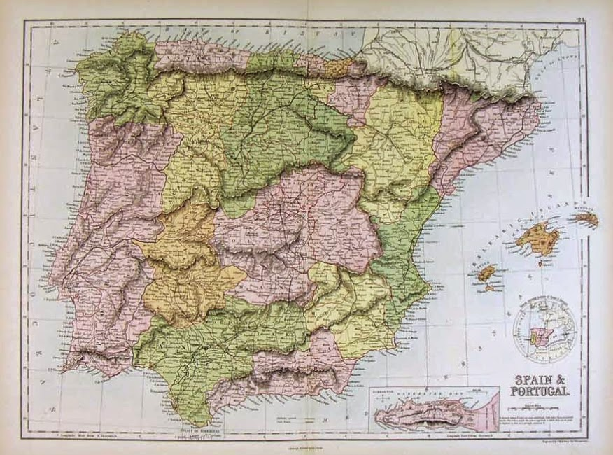 Mapa de España 1879 Charles Black