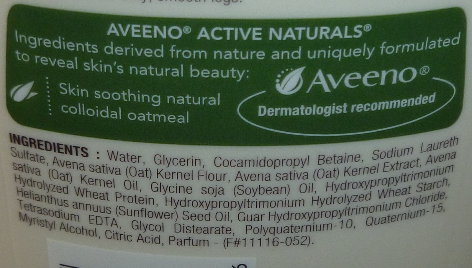 Aveeno lotion ingredients