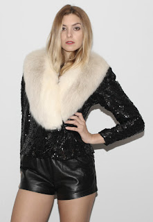 Vintage 1970's black sequin jacket with white arctic fox fur collar.