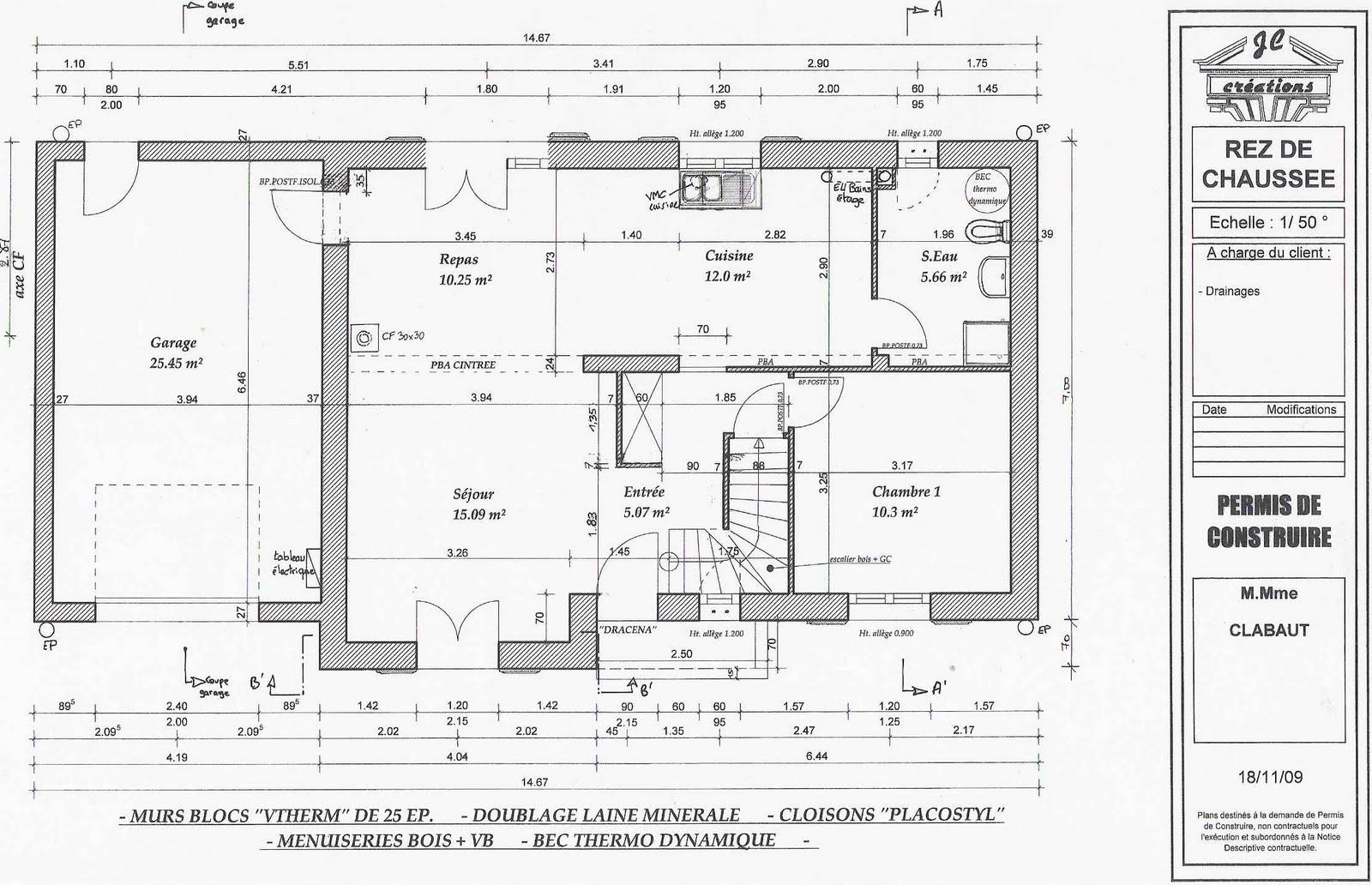 Je fais construire ma maison plan du rez de chauss e - Plan de coffrage ...