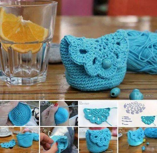 Monedero crochet tutorial en fotos paso a paso - Patrones monederos ganchillo ...