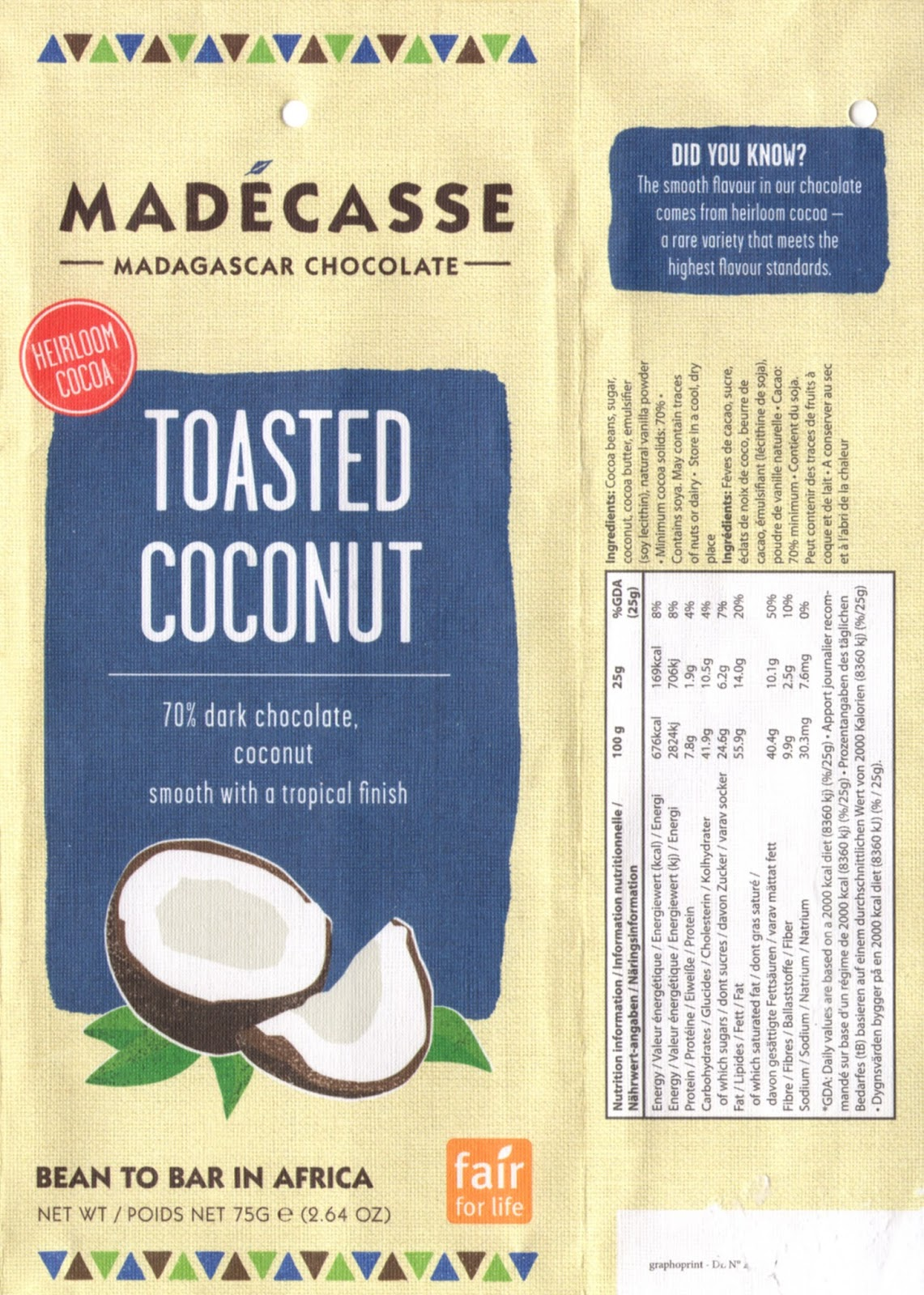 tablette de chocolat noir gourmand madécasse toasted coconut dark 70