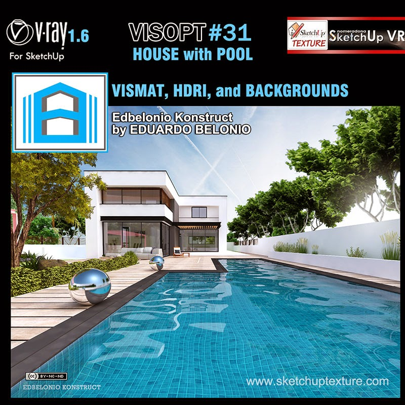 Sketchup texture house with pool visopt 31 hdri vismat for Pool design sketchup