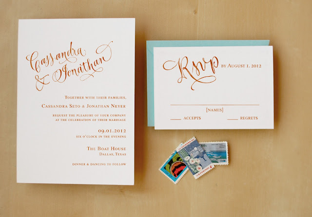 we stamped the top of the invitation with the wreath calligraphy