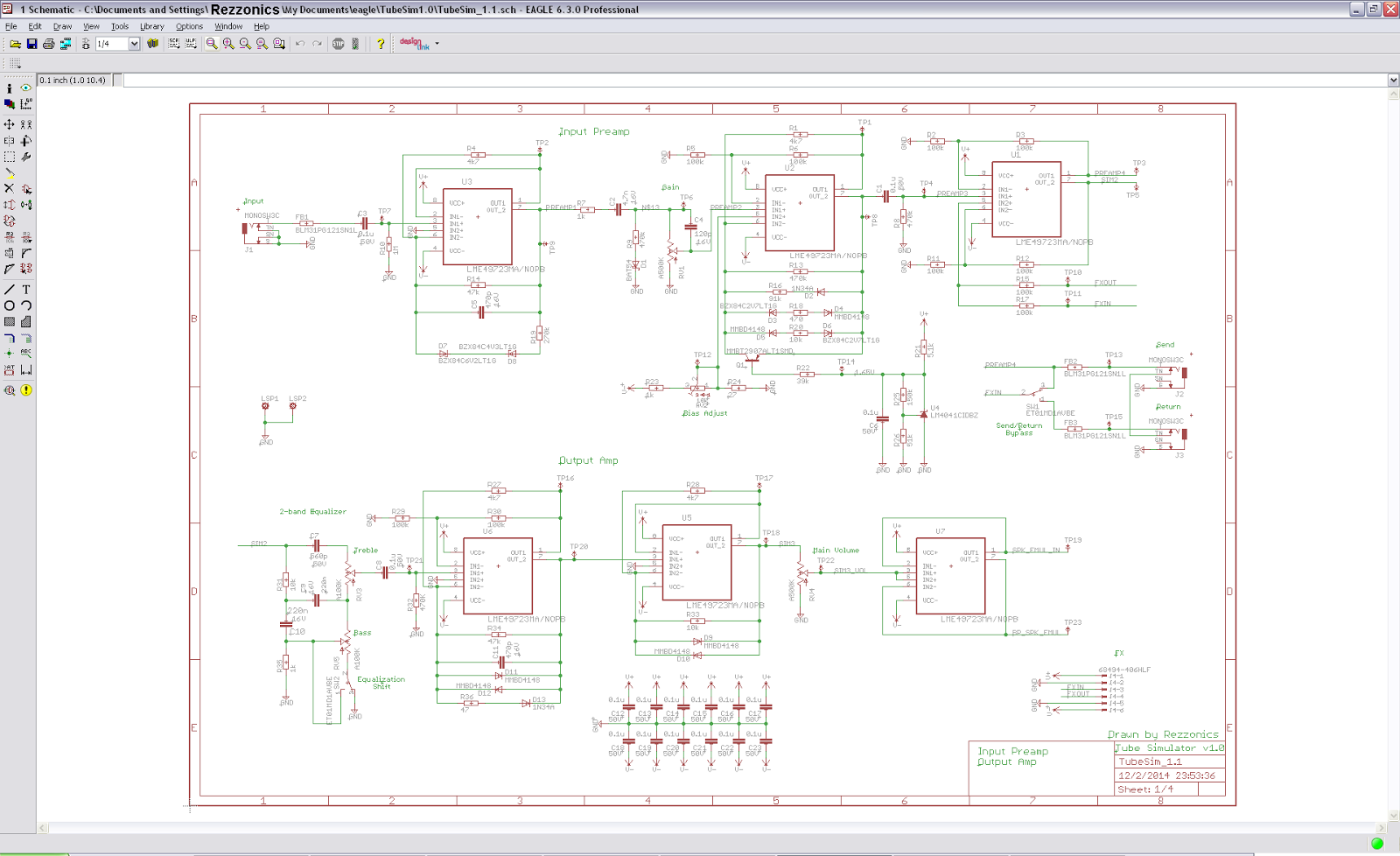 Rezzonics Tube Simulator Practical Implementation Schematics Eagle Input Preamp And Output Amp Page 1