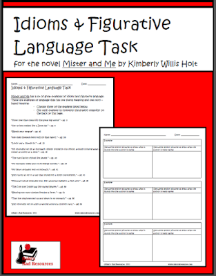 Free download - Mister and Me idioms and figurative language task to help students understand this complex language. From Raki's Rad Resources.