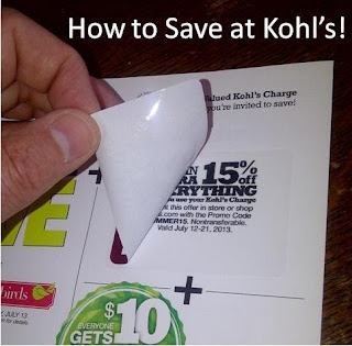 Shows peeling to reveal a 15% off Kohl's coupon