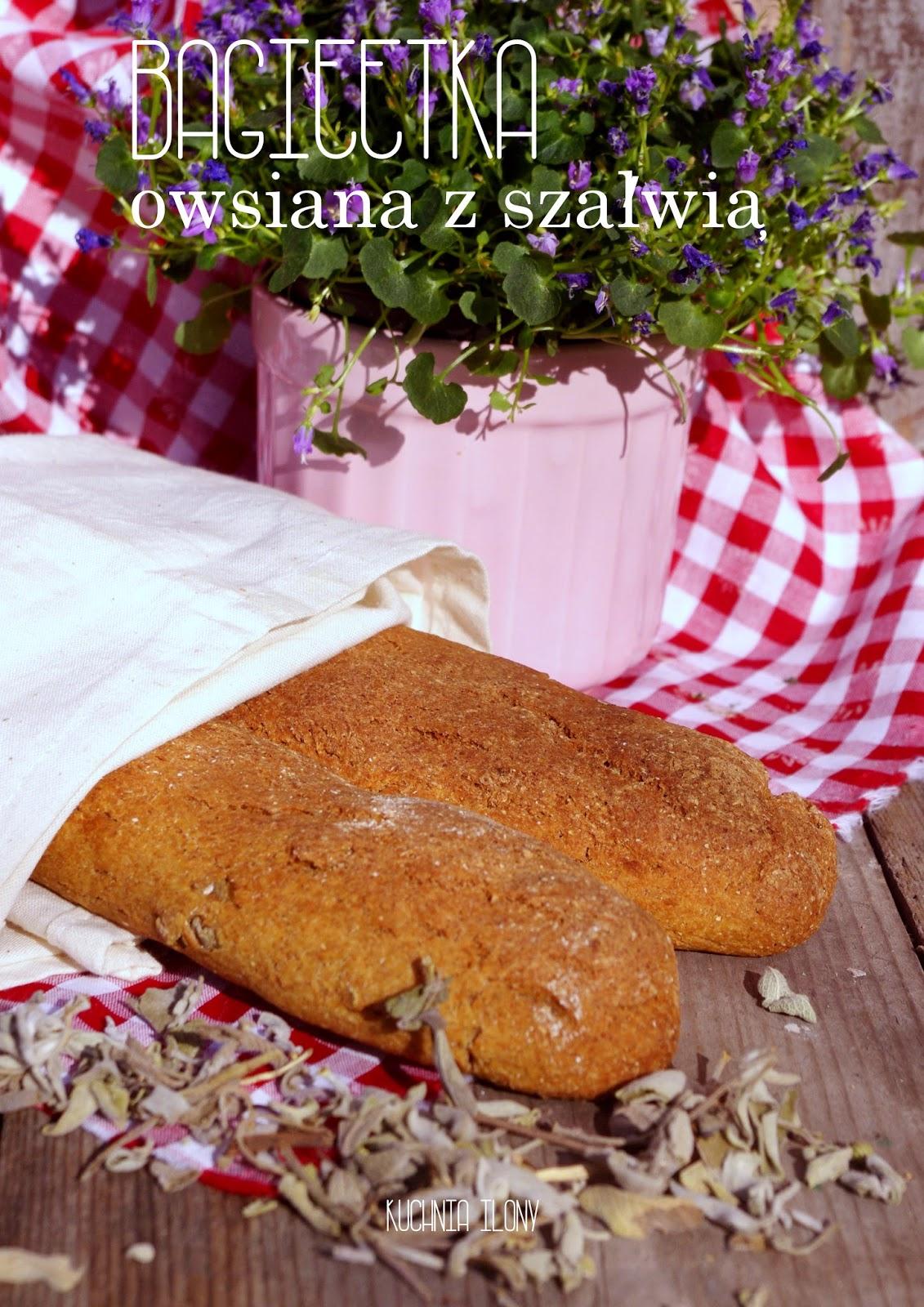 bagietka owsiana z szałwią, szałwia, bagietka, piekarnia, chleb, wielkanoc, zdrowe pieczywo, chleb owsiany,