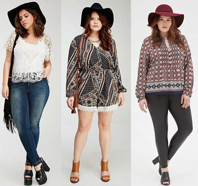 Plus Size Boho Chic Fashion Clothing left middle right