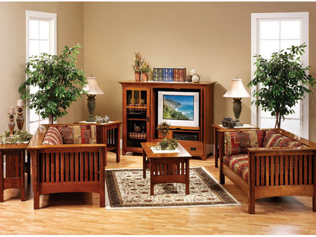 misson style furniture living room suite vs a living room with