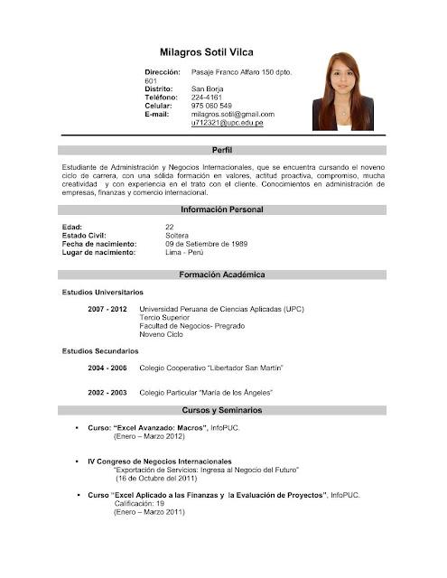 curriculum vitae  curriculum vitae sin experiencia laboral argentina