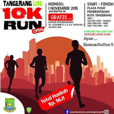 Tangerang 10K 2015, lomba lari pemkot tangerang gratis umum pelajar