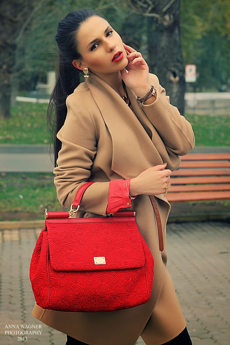camel cashmere coat, red lace dolce&gabbana bag, ootd