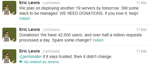 Eric Lewis Twitter msg about i4Siri