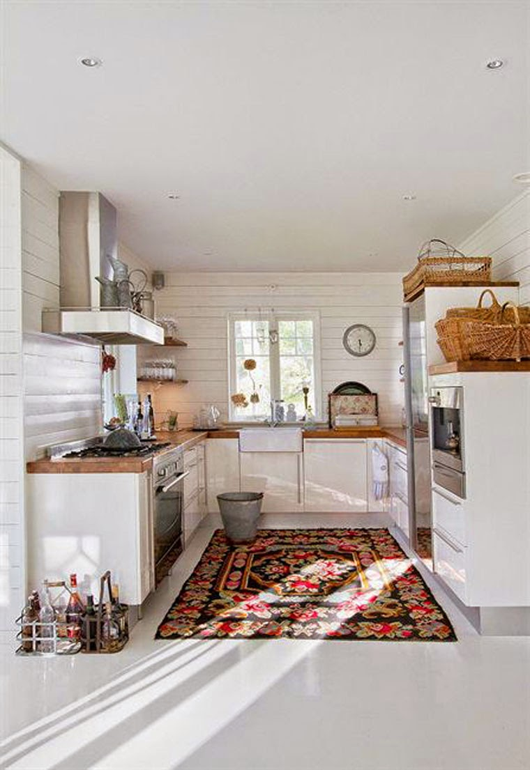 Colourful rug in modern kitchen