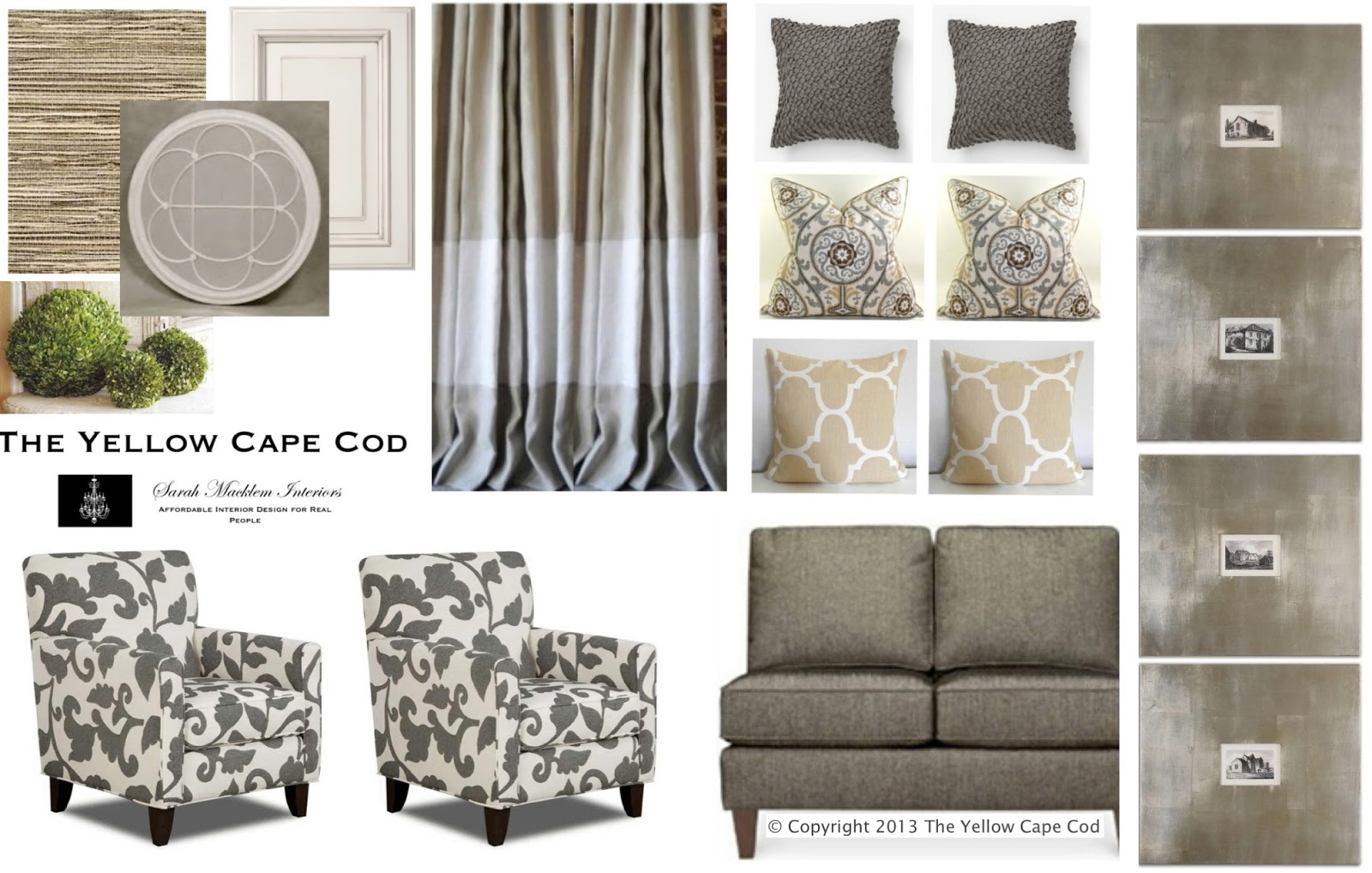 the yellow cape cod balancing bold pattern and metallic finishes