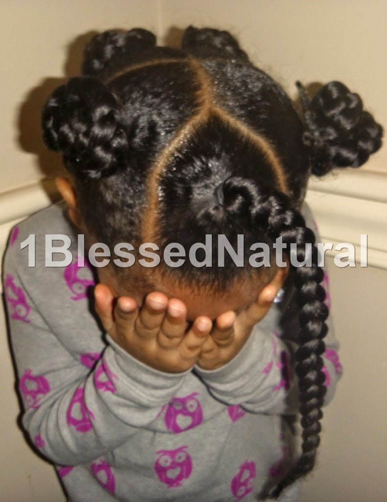 Copyright 2015- 1BlessedNatural kids front view of braided buns style