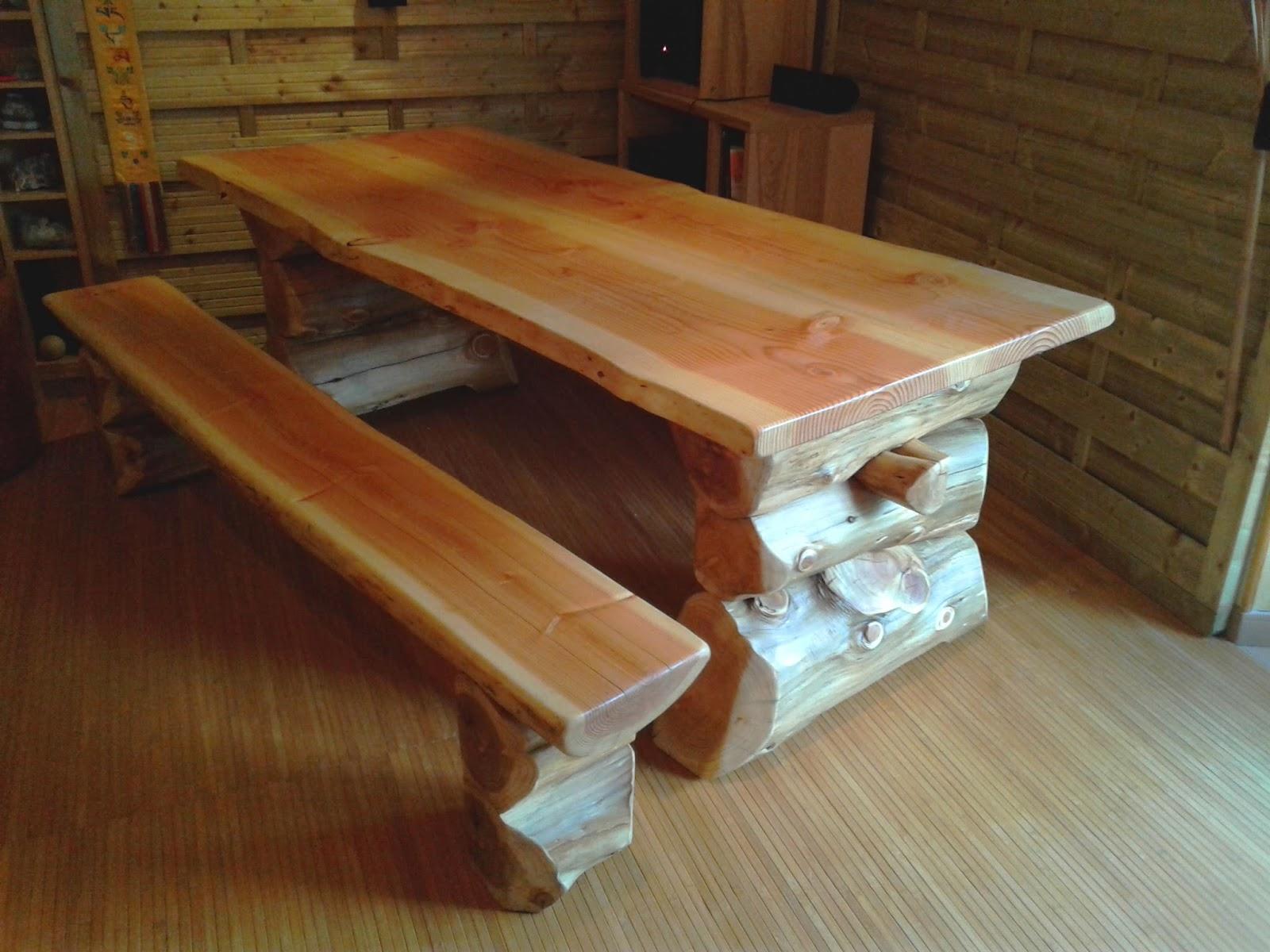 bureau et banc en rondins table en rondins banc avec dossier ~ Banc En Rondin De Bois