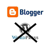 Graphic by Erika Grey features the Blogger Logo above the Wordpress logo with a giant X over the Wordpress logo signifying that Blogger is chosen over Wordpress